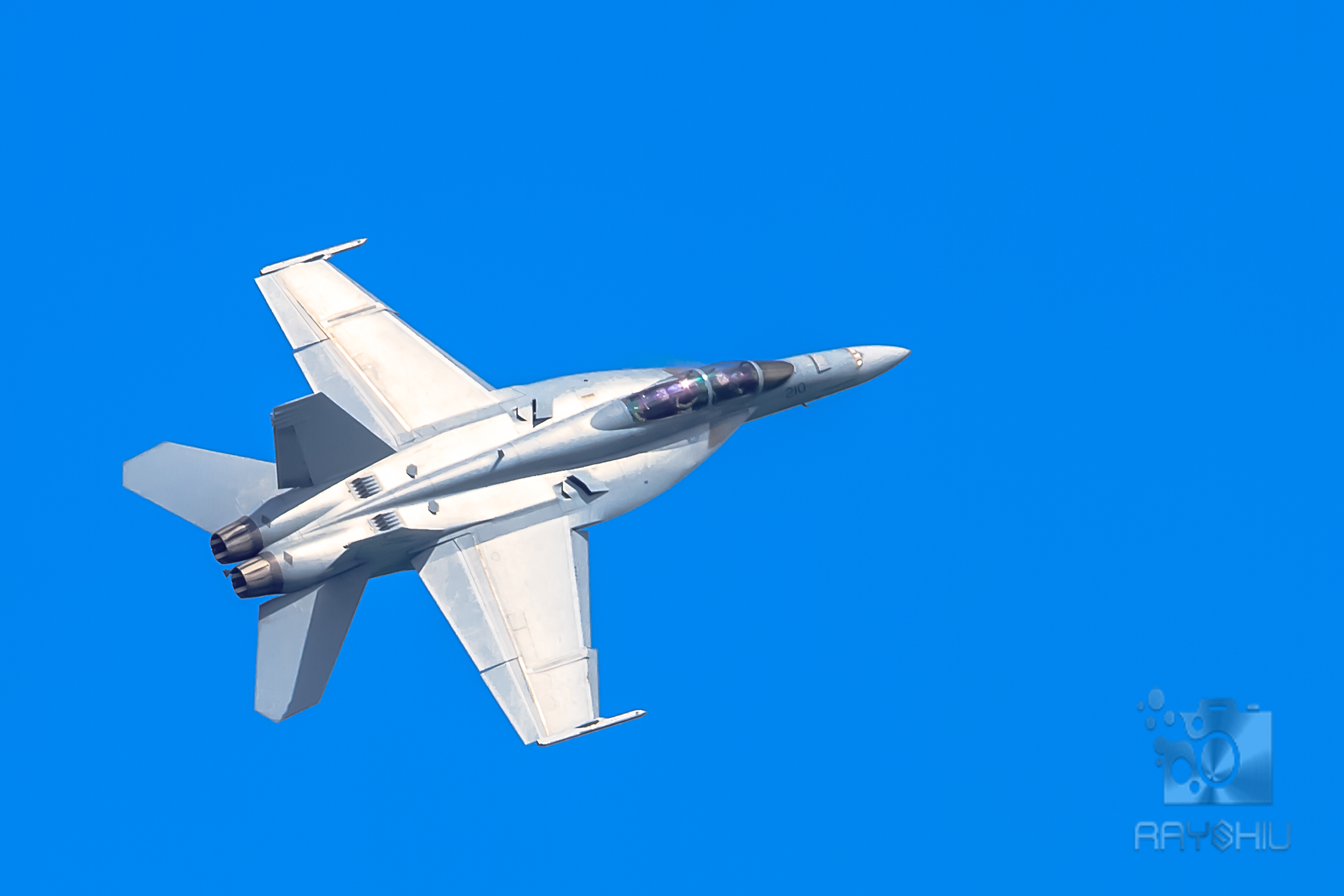 F-18 motionless in the sky