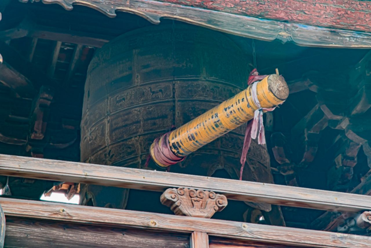 Close up of a bell tower at the Ying Xian Temple comples