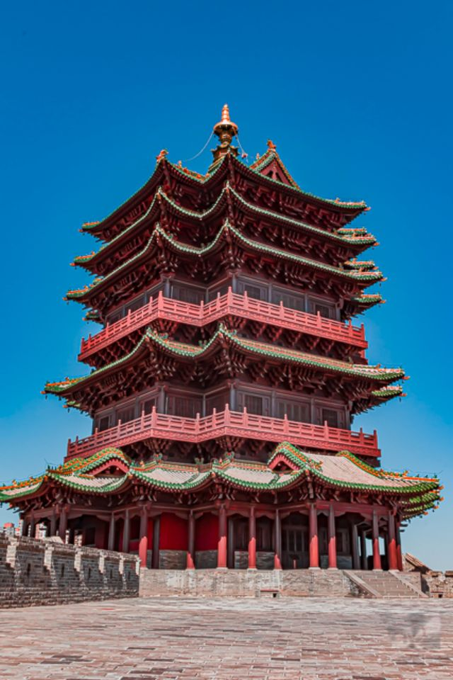 Replica Ming Dynasty Pagoda on top of a Datong's Great Wall