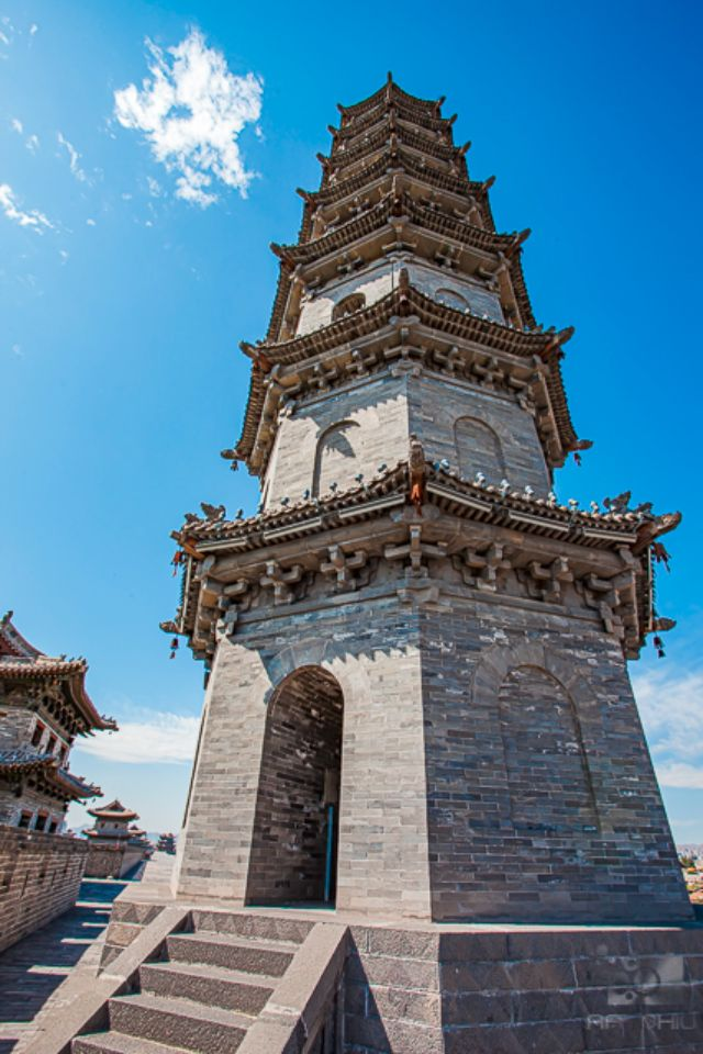 Replica Ming Dynasty Stone Pagoda on top of a Datong's Great Wall