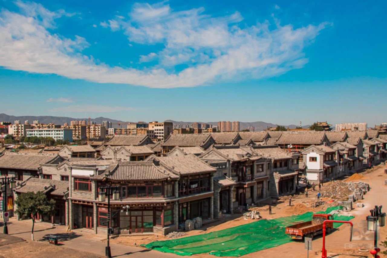 A replica town being built within Datong's inner old city.