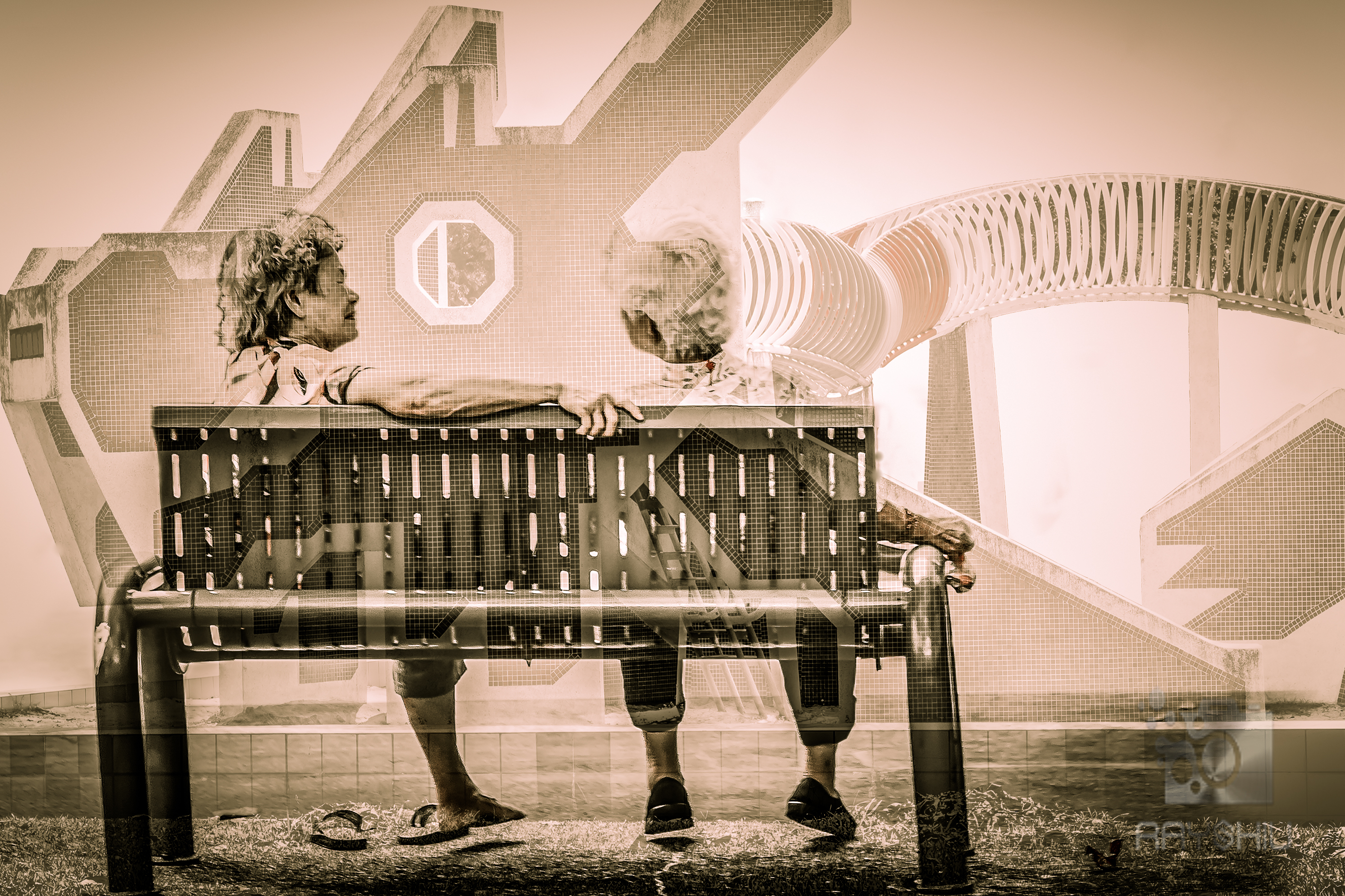 Elderly lady's carefree reminiscing at a deserted but well maintained playground.