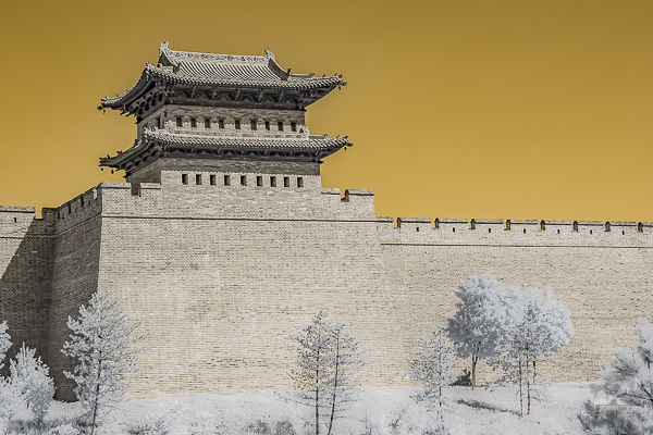 Extensive brick work of a replica 'great wall' complete with towers