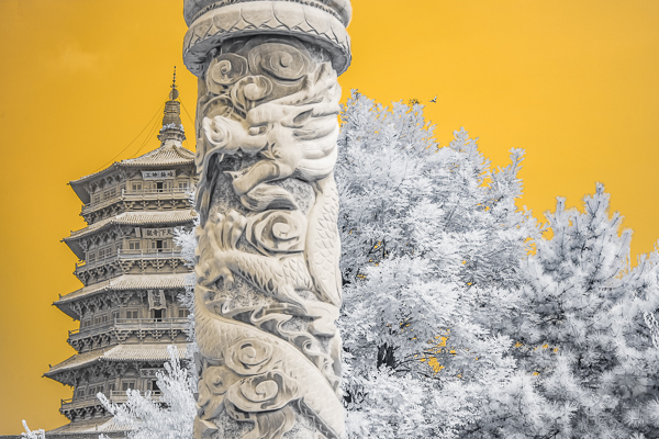 Dragon pillar in front of a centuries old wooden pagoda