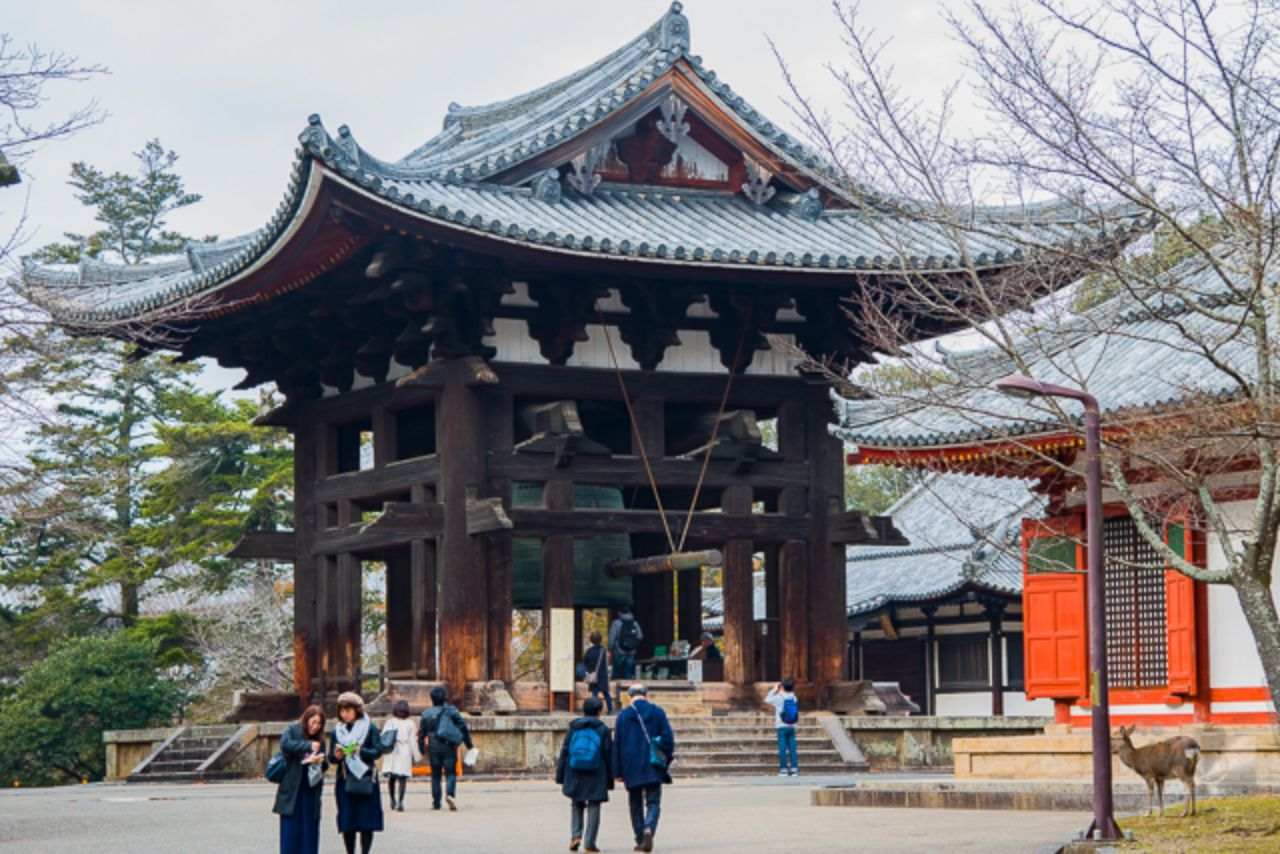 A huge bell tower in Nara Park.