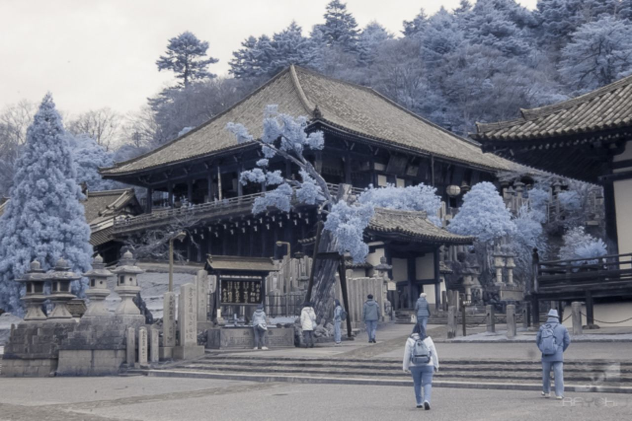 A historic shrine shot in the infrared spectrum.