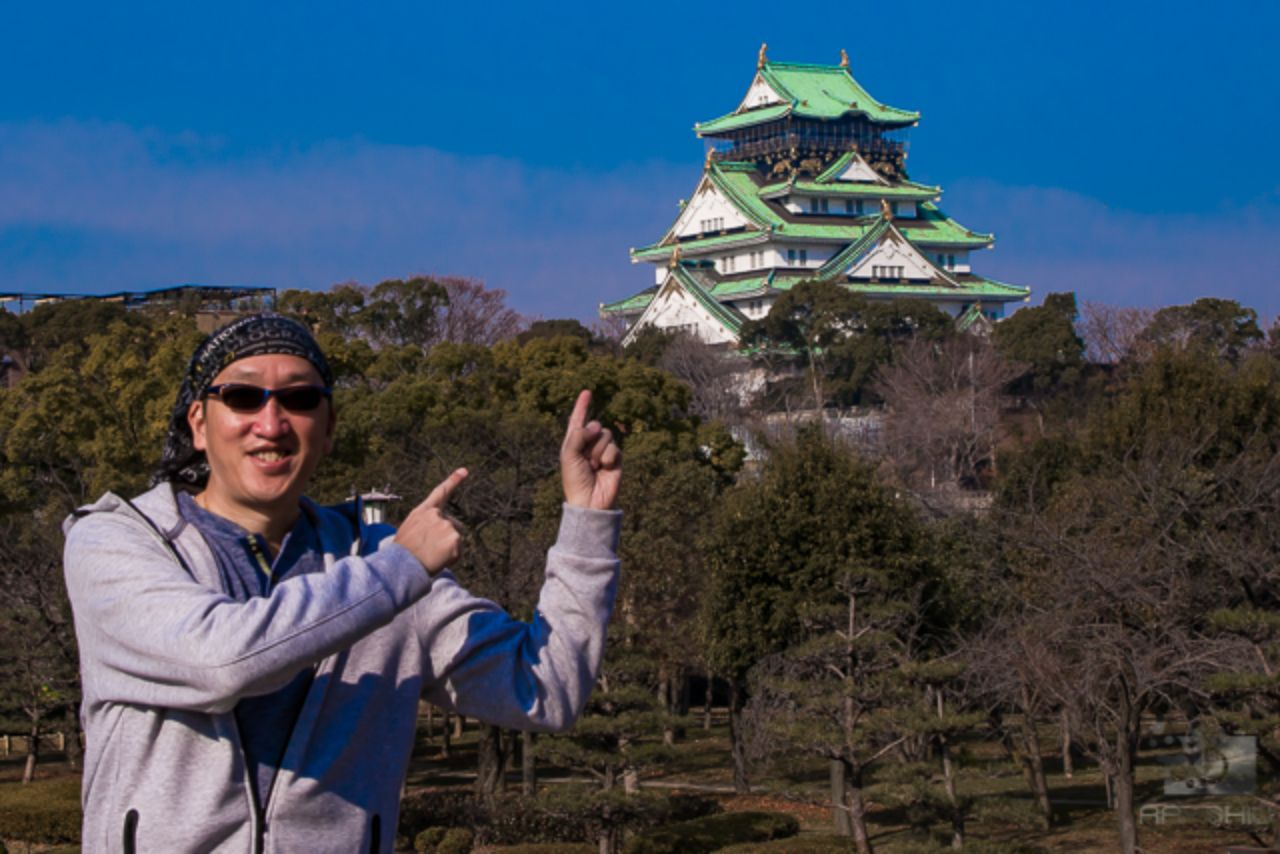 Ray in Osaka with the Osaka Castle in the background